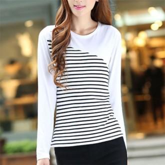 [아이니몰] 여성 투톤 스트라이프 긴팔 라운드 티셔츠