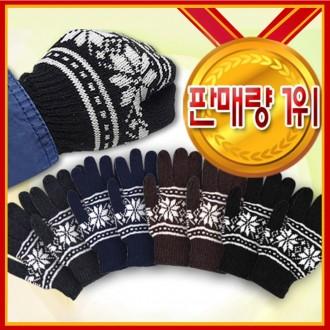 [도매라인]땡처리눈꽃니트장갑/넥워머/기모장갑털장갑