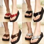 여성 스파클 통굽 쪼리 샌들 여름 키높이 슬리퍼 신발