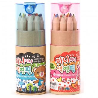 1500미니미니색연필(원통) 도매/완구/앵그리/키티/덤
