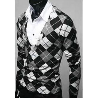 [모던룩]레이어드 체크패턴 V넥 셔츠 그레이(사이즈 X