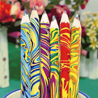 6p 마블링 색연필(17cm)/문구류/품