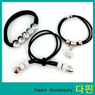 [다핀]500 신상 고급 큐빅 메달 고무줄 팔찌겸 머리끈