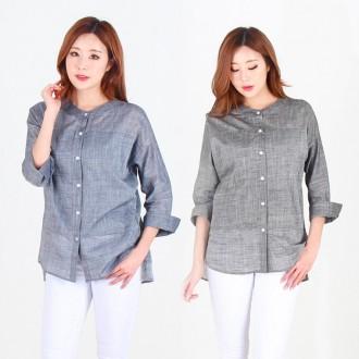 [리원패션] 봄신상품 8부 헨리넥 셔츠-SH017