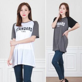 [리원패션] 래글런 영문 프린트 티셔츠- T983