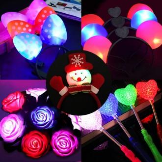 상상홀릭 LED 컬렉션 장미 머리띠 헤어핀 가발 야광봉