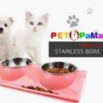 [마이도매]스텐 쌍식기/애견식기/개밥그릇/고양이식기