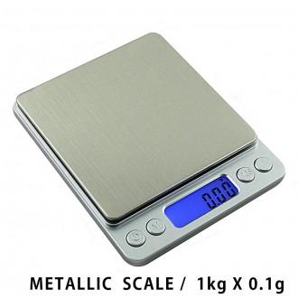 메탈릭 디지털저울 전자저울 1kg x 0.1g 주방저울
