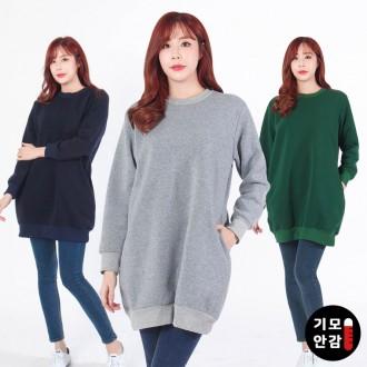 [리원패션] 기모 롱 맨투맨 티셔츠-T997