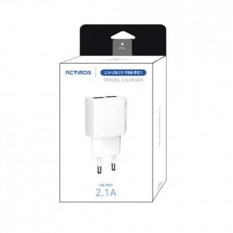 싸다몰 엑티몬 USB 듀얼 2.1A 가정용충전기 (케이블X)