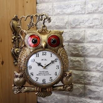 국산 복을 부르는 부엉이 가족 양면시계 골드