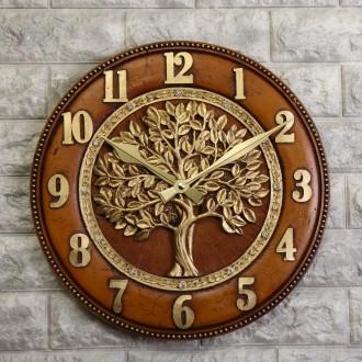 국산 재물을 부르는 돈나무 벽시계 브라운