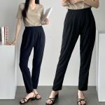 여름 심플한 7부 블랙 배기바지/밴드팬츠/까실이원단