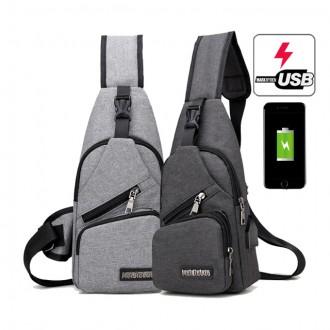 에이스 남자 슬링백 USB 여행용 크로스백 자전거 가방