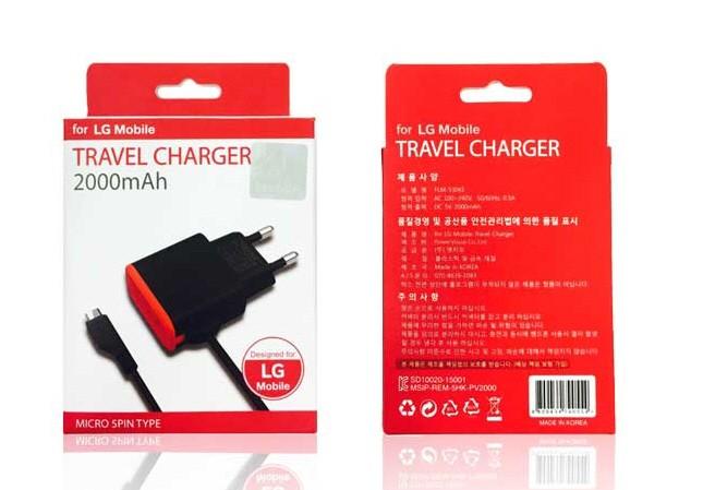 LG 정품 5핀 가정용 고속 충전기 2000mAh